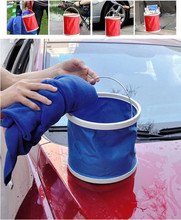 1Pcs Folding bucket car wash car bucket  portable fishing bucket washing retractable Vehicle clean canvas supplies 9L bucket