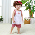 Summer Cotton Children Clothing Sets Check Dress A-Line Dresses for Baby Girls Fashion Sleeveless Top+Pants Clothing Set