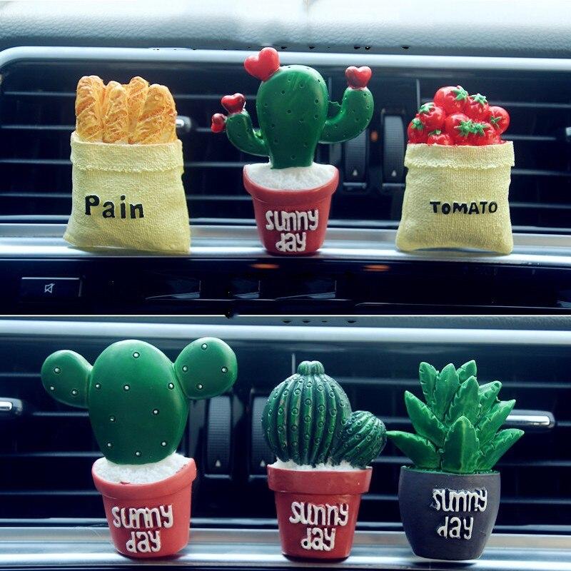 Car Ornament Cute Plant Cactus / tomato / bread Car Air Conditioning Outlet Car Perfume Clip Lovely Car Air Freshener