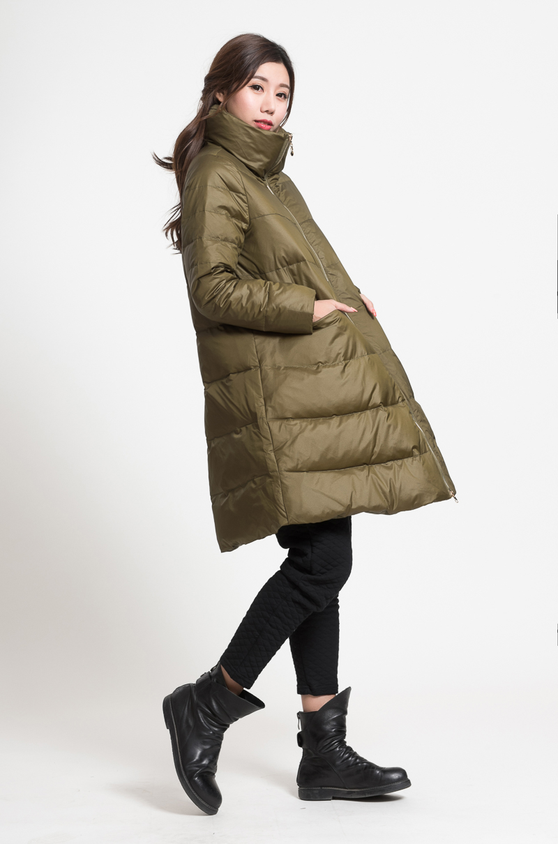 A-line Women Winter   Down     Coat   High Collar   Down   jacket Winter   Coat   Thick   Down     Coat
