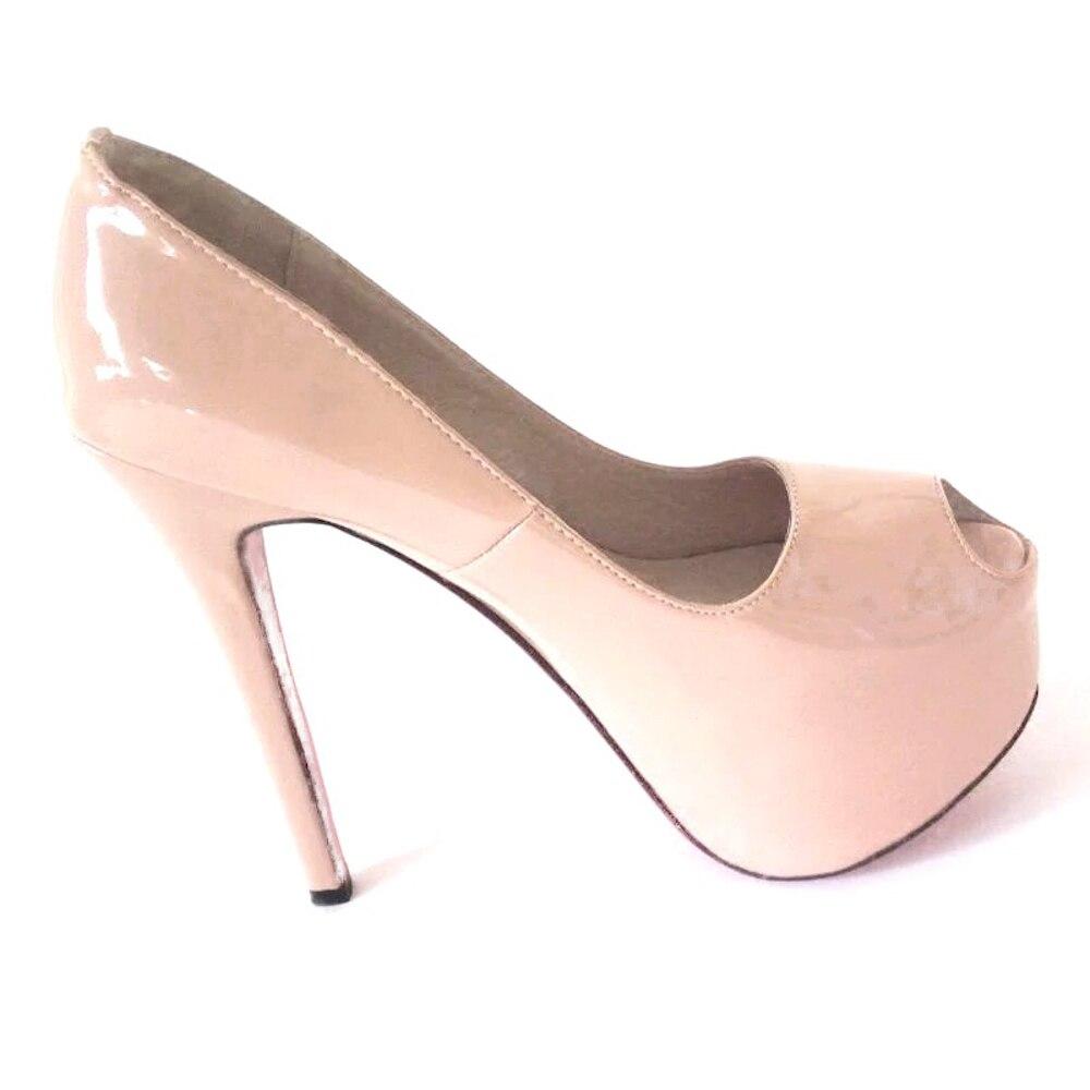 52f072bc back 14cm Zapatos 16cm Tacón Caliente Tamaño Moda De Nueva back Patent 2019  Genuino 16cm Toe Damas beige Boda Fiesta Alto ...