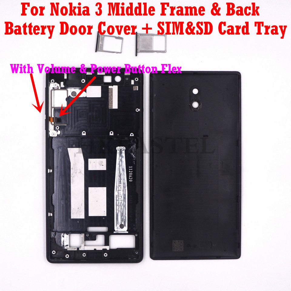For <font><b>Nokia</b></font> <font><b>3</b></font> Original Housing Mobile Phone LCD Middle Frame Back <font><b>battery</b></font> door <font><b>cover</b></font> SIM Card Tray volume power button image