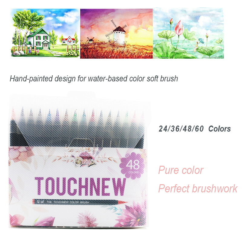 TOUCHNEW 24/36/48/60 Colors Watercolor Markers Pen Painting Soft Brush Marker Set Best For Manga Animation Art supplies sta 10 colors metallic marker pen diy scrapbooking crafts soft brush pen art marker pen for manga watercolor paint art supplies