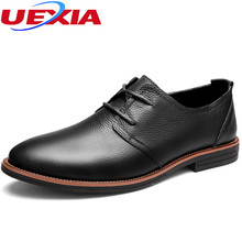 UEXIA New Dress Mens Shoes Leather Oxford Pointed Toe Business Party Office Sapato Masculino Lace-Up Business Wedding Male Shoes