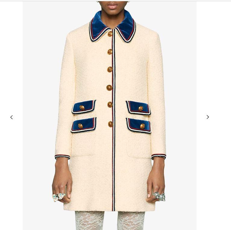 2018 Autummn Winter Brand Women s velvet trim lion head metal buttons Front patch pockets Tweed