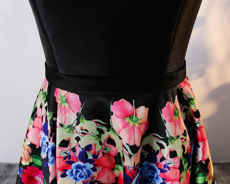 JaneVini 2018 שחור אלגנטי צווארון V סאטן נשים דפוס פרחוני פרחי שושבינה שמלות ילדה השמלה ארוכה המפלגה לנשף שמלות