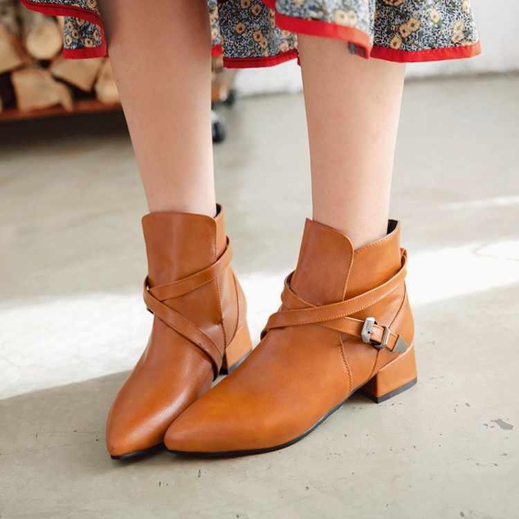 Große Größe 9 10 11 12 stiefel frauen schuhe stiefeletten für frauen damen stiefel Gürtel schnalle hülse spitz ferse