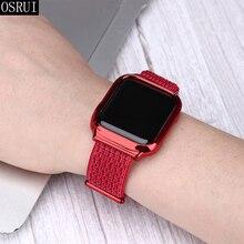 лучшая цена Strap for Apple watch band 42mm 38mm correa iwatch 44mm 40mm series 3 2 1 sport nylon loop+case for Apple watch 4 accessories
