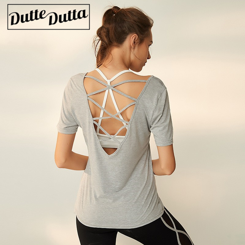 Duttedutta Solid Yoga Sports Top Women Short Sleeve Shirt Cross Straps T-shirt Female Running Workout Fitness Clothing Tops