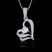 2017 New Fashion Jewelry Crystal Hollow Heart Shape Pendant Simple Beads Chain Charm Pendant Necklace For Women
