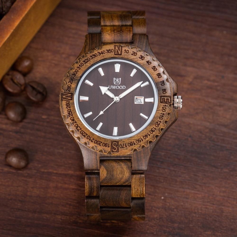 UWOOD UW W3041 Wood Men Watch Analog Quartz Movement Date Display and Wooden Wristwatch for Men