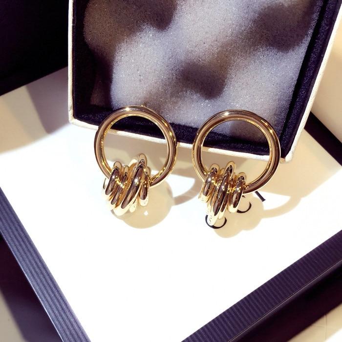 2020 Luxury Gold Color Round Circles Drop Earrings Party Earrings For Women Party Jewelry Oorringen Oorbellen Pendientes Brincos