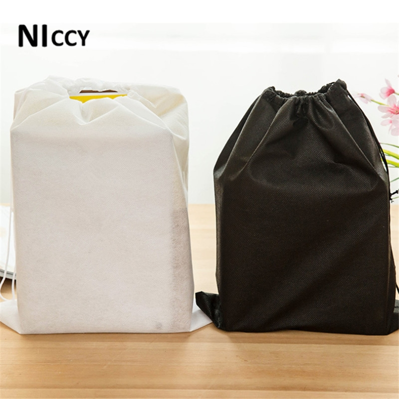 5pcs/bag Non-woven Storage Bags For Shoes Clothes Toys Makeup Organizer White/Black Drawstring Travel Bag Sundries Storage