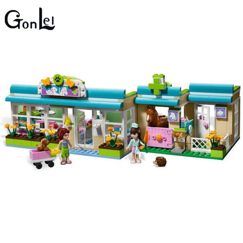 (GonLeI) 10169 Pet Hospital Building Blocks Toy Set Friends Bricks Gift Toys Compatible With 3188 Friends For Girl 10494 friends city supermarket building bricks blocks set mia daniel girl toy compatible lepine 41118