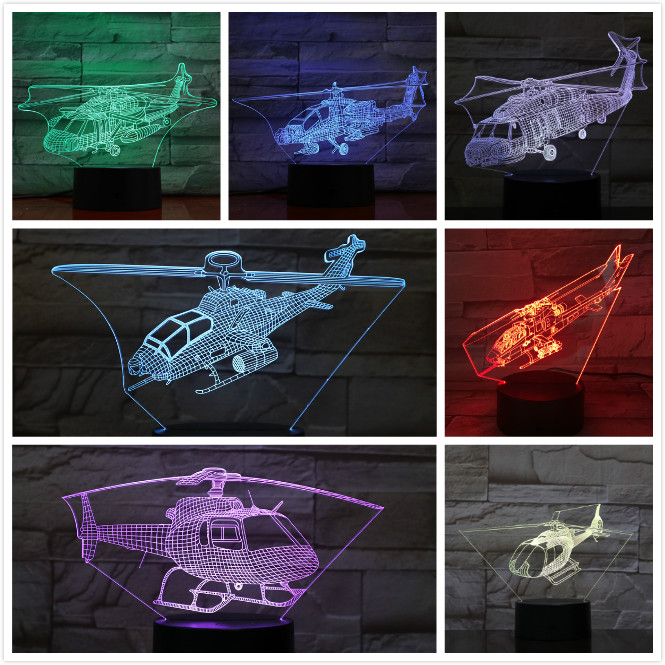 Helicopter Plane Model Usb 3d Led Night Light Illusion Lampara Fighter Gece Lambas Warplane Copter Table Lamp Bedside Gift