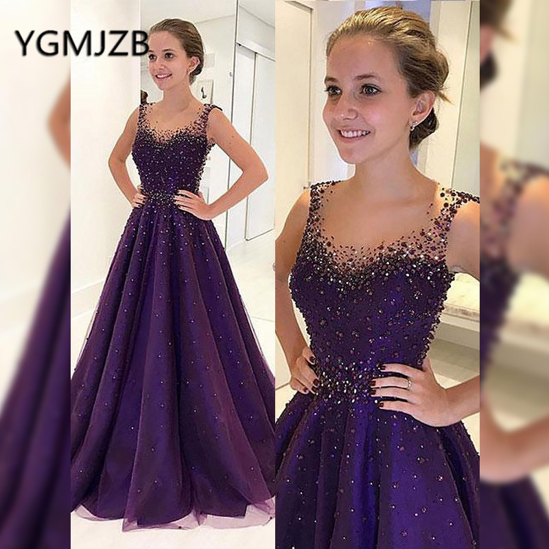 Elegant Purple Evening Dresses Long 2019 A-Line Sleeveless Glitter Beaded Crystal Tulle Prom Gown Women Formal Prom Party Dress