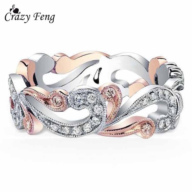 2018 New Elegant Wedding Rings Band For Women Hollow Out Crystal Peach Bague Ane
