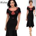 Cintura fina vestido moda black dress polka dot profissional temperamento túnica de algodão poliéster roupas de trabalho de escritório manchado