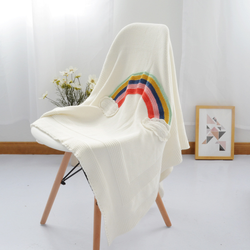 New Rainbow baby blanket Newborn Cotton Knitted receiving blankets Soft Toddler Swaddle Wrap Sleeping Bag 95x115cm baby quilt newborn envelope receiving blankets cotton baby deken chunky knit blanket cotton printed animal baby blanket 608027