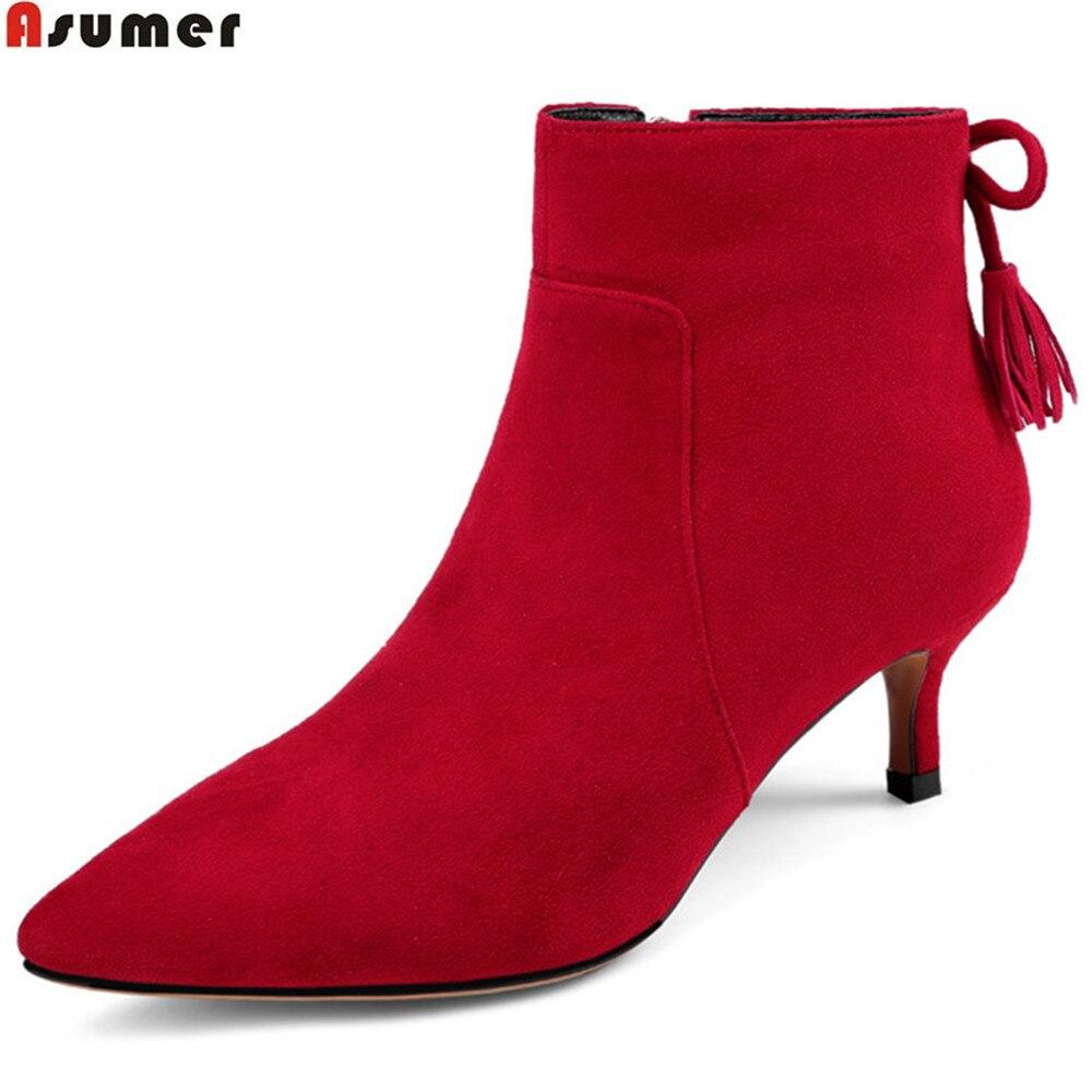 Ayakk.'ten Ayak Bileği Çizmeler'de Asumer kırmızı siyah moda sonbahar kış kadın çizmeler sivri burun fermuar çapraz bağlı bayan çocuk süet yüksek topuklu deri ayak bileği çizmeler'da  Grup 1