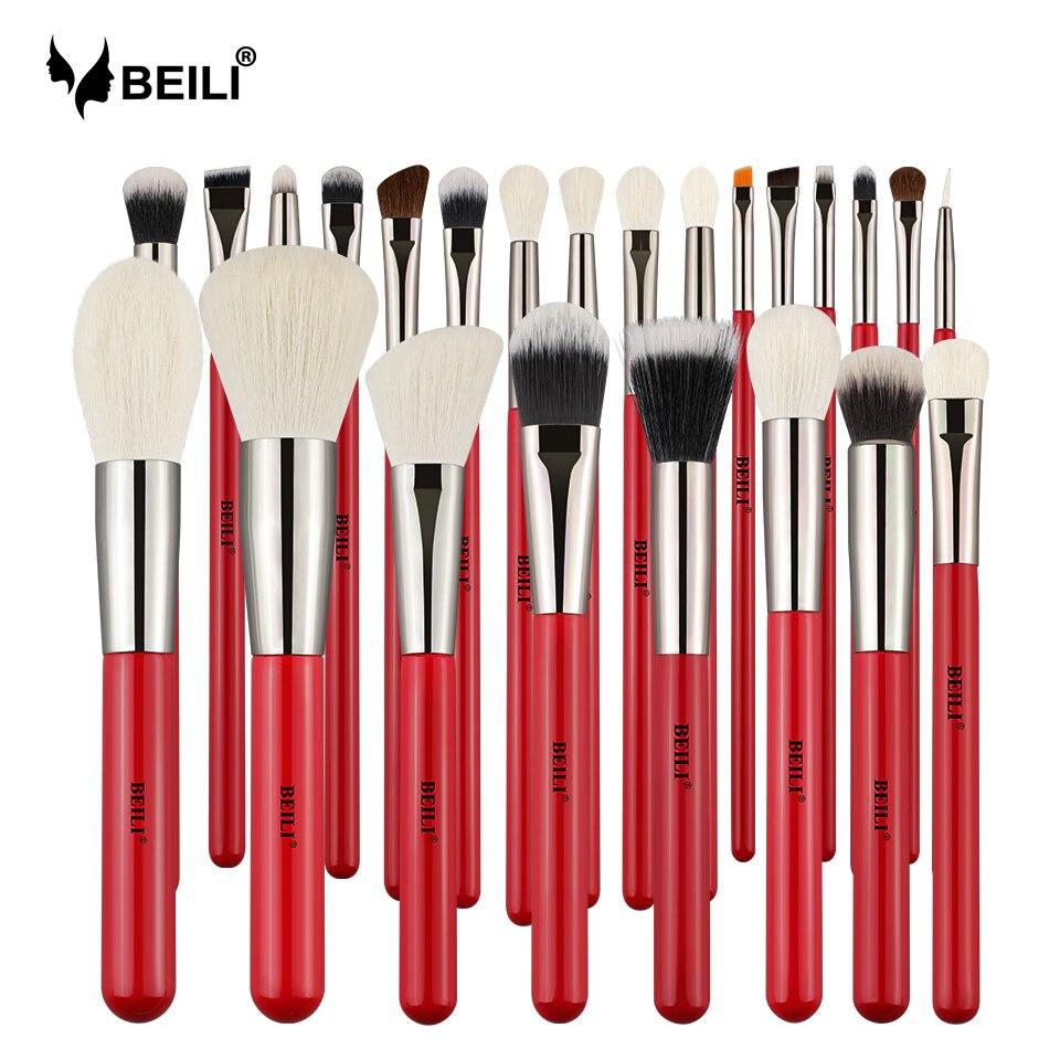 Beili vermelho 24 pçs pincéis de maquiagem