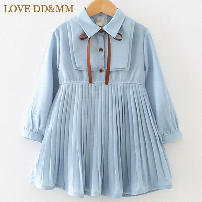 Girls Dresses Pleated-Waist Chiffon Long-Sleeved Love-Dd--Mm Sweet Cute Temperament New