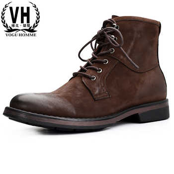 Men's Riding boots Genuine leather men retro short Chelsea boots British business leisure high-top shoes autumn winter cowhide - DISCOUNT ITEM  30% OFF All Category