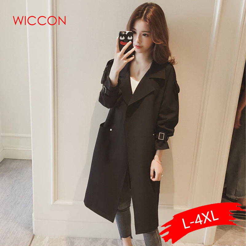 4XL 2019 New Spring Autumn Women's Korean Windbreaker Female Large Size Long Section   Trench   Coats