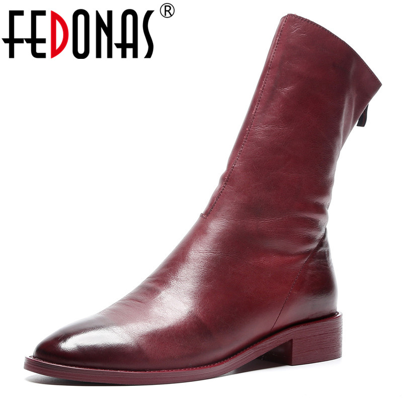 FEDONAS Brand Women Cow Leather Mid-calf Boots Thick High Heels Zipper Long Warm Martin Shoes Sexy Motorcycle Boots New Shoes
