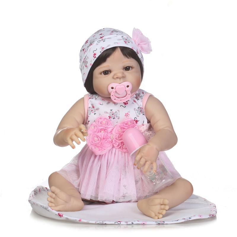 23 Lifelike Reborn Baby Dolls White Skin Babies Doll Full Vinyl Body realistic  Girl Model Doll For Toddler bebe Toy Gifts23 Lifelike Reborn Baby Dolls White Skin Babies Doll Full Vinyl Body realistic  Girl Model Doll For Toddler bebe Toy Gifts