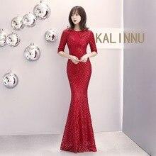 Luxury Sexy Sequin Beaded Stripe O-Neck Half sleeve Fishtail Long Dress Elegant Evening Party Formal Dresses Women Vestidos 2019 цена и фото