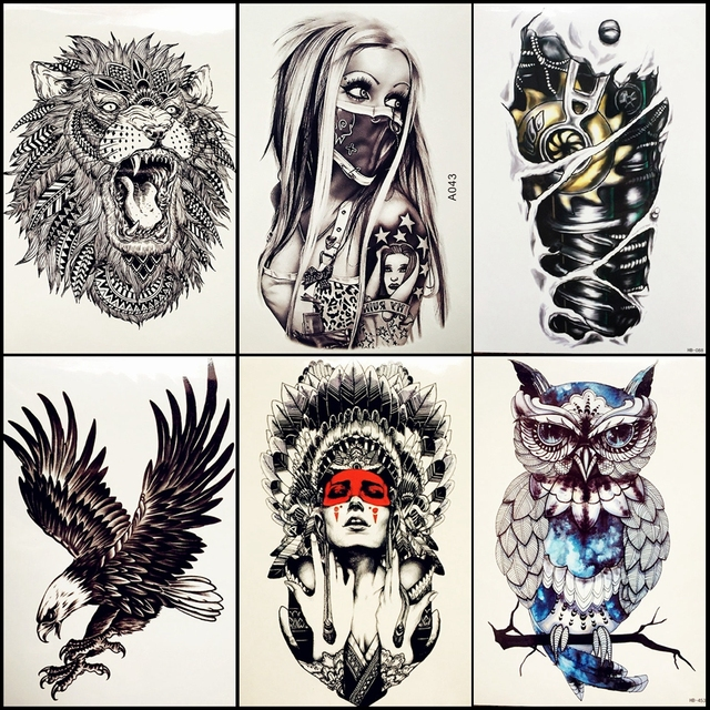 6 Pieces/Lot Hot Girl With Mask Temporary Tattoos Indian Tribal ...