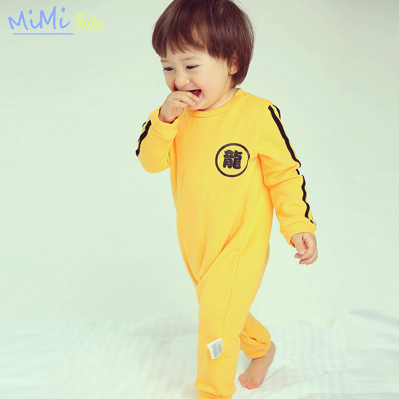 Newborn Baby Boys Rompers 2017 Spring New Bruce Lee Style Cotton Newborn Baby Jumpsuits Baby Boy Clothes Fashion Rompers