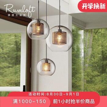 Américain créatif boule de verre pendentif lumières fer cerceau accrocher lampe pour chambre café Restaurant Bar intérieur luminaires décor