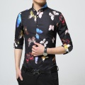 2017 Luxury Brand Mens Dress Shirts Fashion Design Colorful butterfly Printed Men Slim Fit Shirt Long Sleeve Chemise Homme