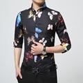 2017 Marca De Luxo Mens Camisas de Vestido de Moda Design borboleta Colorida Impresso Chemise Homme Dos Homens Slim Fit Camisa de Manga Longa