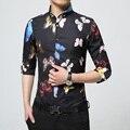 2017 de Lujo de Marca Para Hombre Camisas de Vestir de Diseño de Moda Colorida mariposa Impreso Hombres Camiseta Slim Fit Manga Larga Chemise Homme