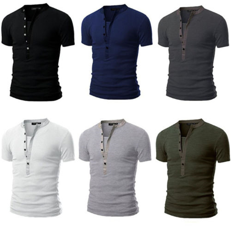 New2018 fashion man slim fit Vneck line fastenings fitness room short sleeve T-shirt relaxation tops shirt