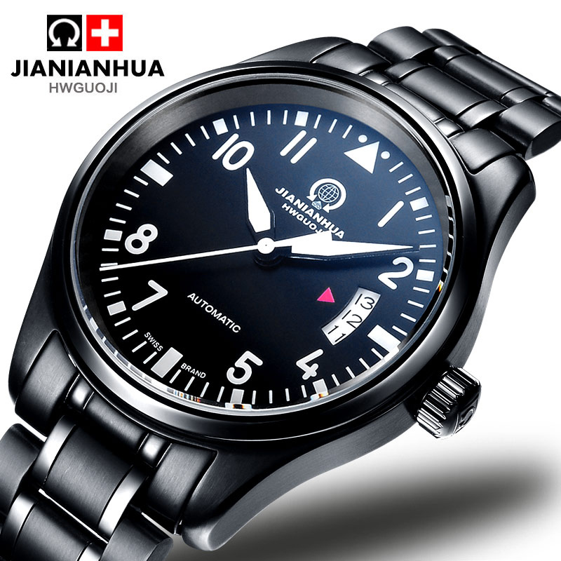 Carnival Fashion Casual Automatic Mechanical Watch Men All Black Stainless Steel Waterproof Luminous Male Clock  saat erkekler tevise men watch black stainless steel automatic mechanical men s watch luminous waterproof watch rotate dial mens wristwatches