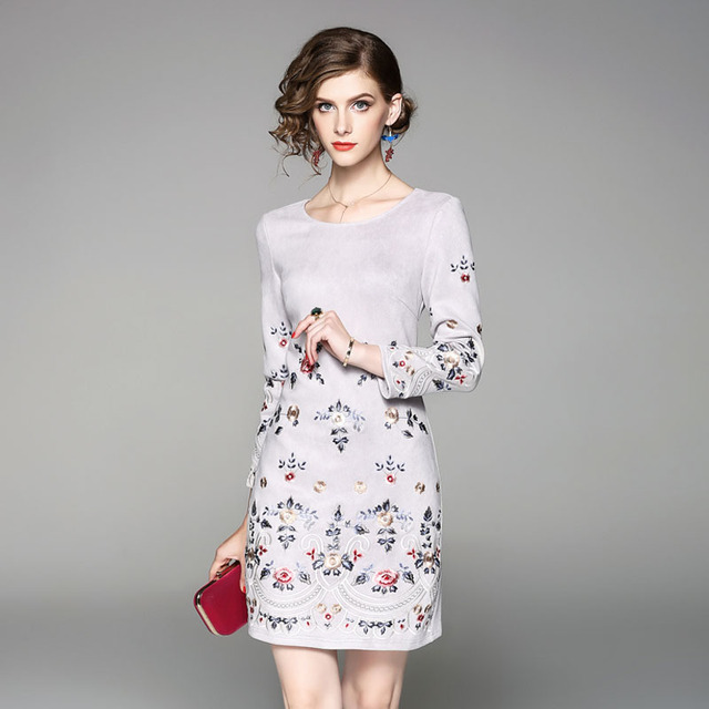 Runway Designer Floral Embroidery Dress