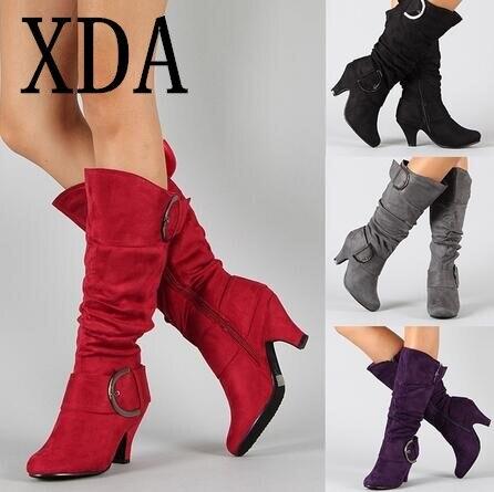 XDA Large Size 43 2019 Knee High martin Boots Women Autumn F