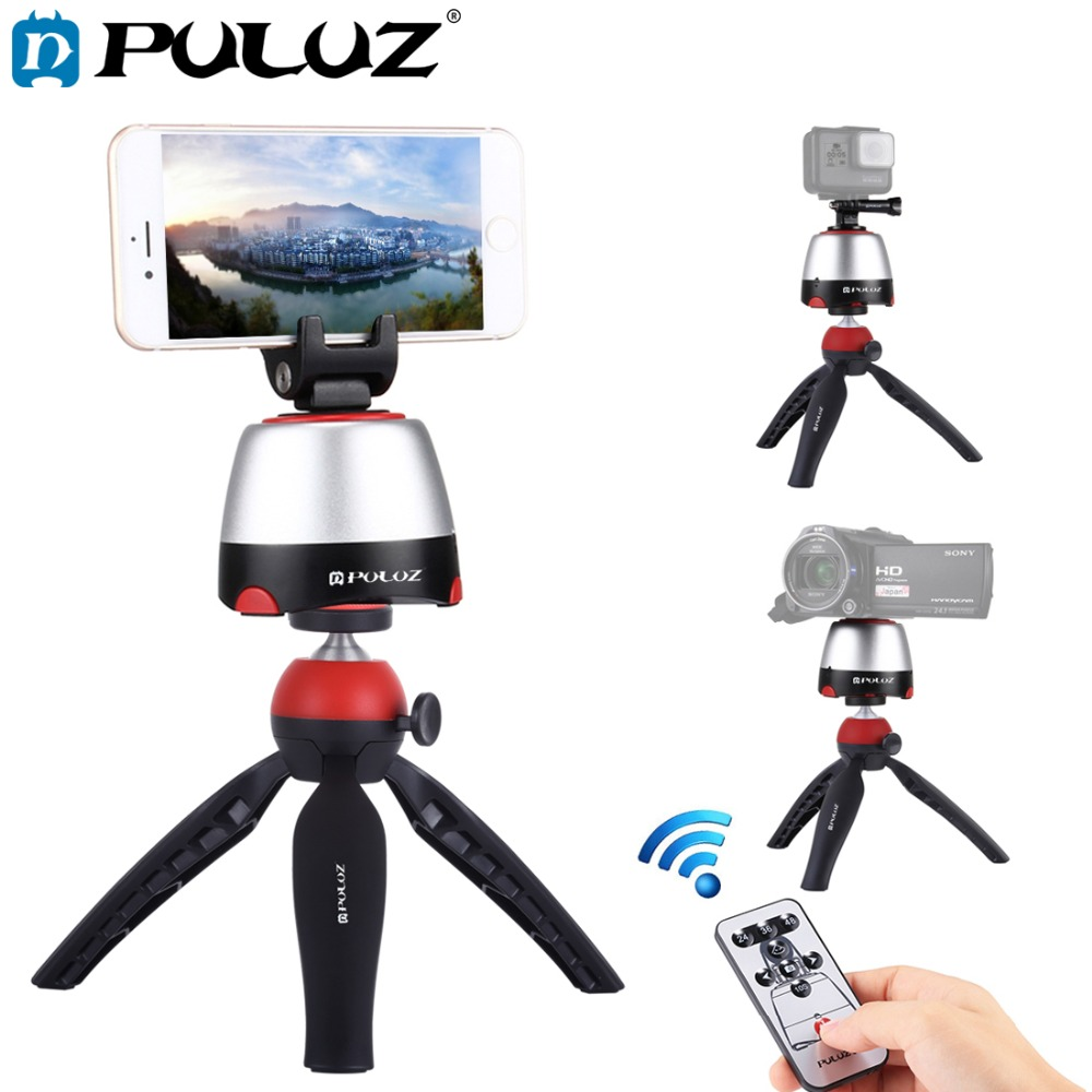 Blue DSLR Cameras Round Tray with Control Remote for Smartphones Color : Blue GoPro Tripods Products Camera /& Photo Products Electronic 360 Degree Rotation Panoramic Tripod Head