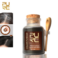 PURC Hair color powder permanently color hair dark black shining hair coloring easy do at home or travel 50g hair care