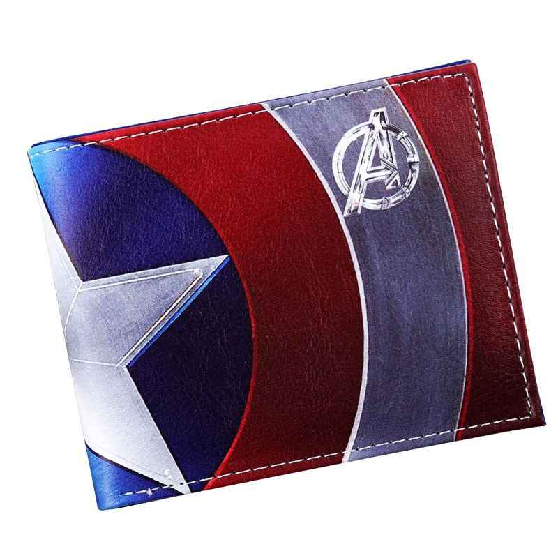 Anime Marvel Avengers Superhero Captain America Cartoon Wallets PU Leather Bifold Wallet ID Cash Purse Card Holder Wallet