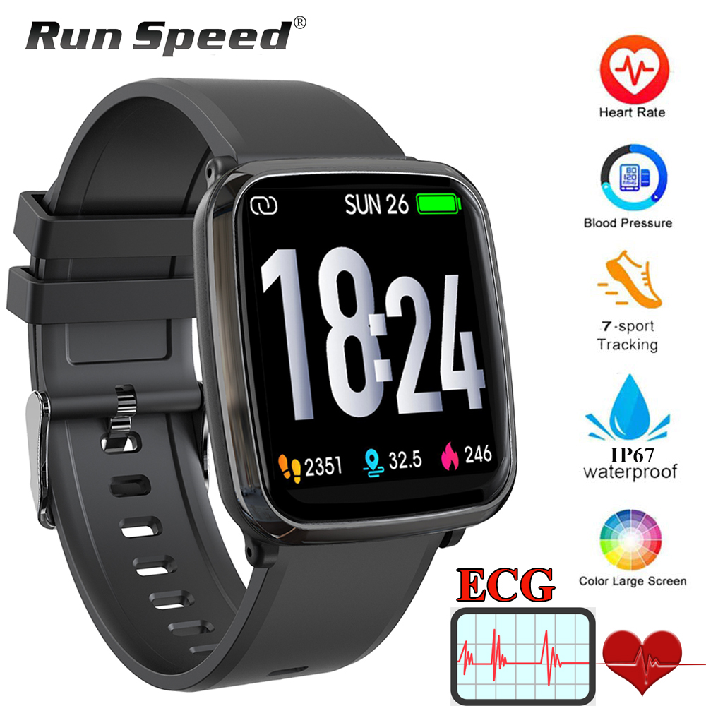 Run Speed ECG PPG Health Smart Watch IP67 Waterproof Sport Watch Heart Rate Blood Pressure Monitoring
