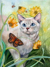 Diy diamond painting Handmade cross stitch kit full Diamond embroidery flowers butterfly cat 3D  Mosaic