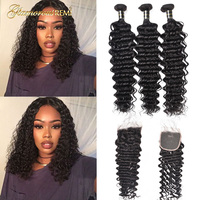 Brazilian Deep Wave Bundles with Closure 3 Bundles Deep Curly Hair with Lace Closure Short Deep Wave with Middle Part Closure
