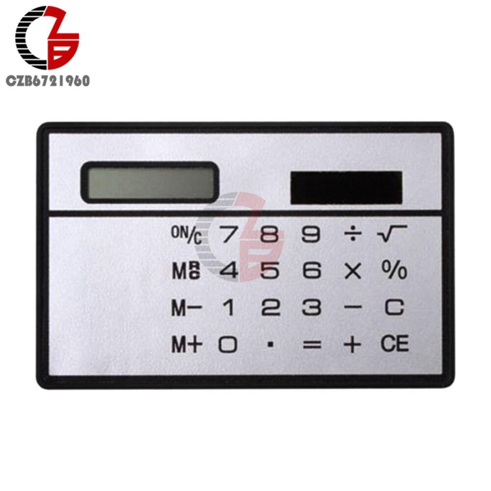 8 Digits Ultra Thin Mini font b Slim b font Credit Card Solar Power Pocket Calculator