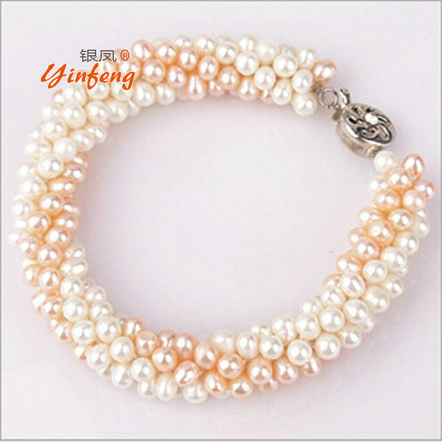 100% Natural Freshwater Pearl Bracelet Fashion design Free shipping
