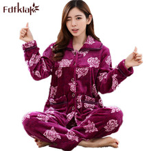 f988c797c4 Fdfklak L XL XXL 3XL Clothes For Women Large Sizes Winter Print Flannel  Pijamas Women Warm